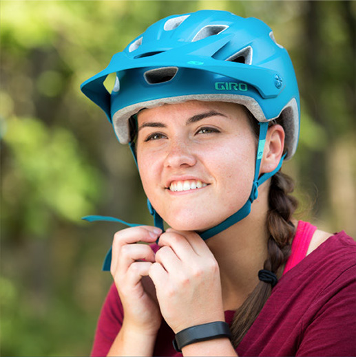 Young girl with bike helment